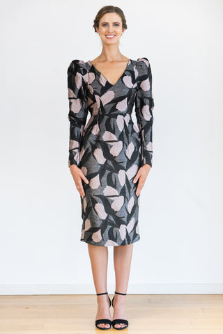Structured Sleeve Dress - Textured Floral
