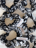 Scrunchie - Black and White Brocade