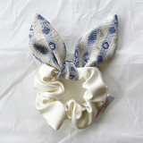 Feature Bow Scrunchie - Ivory with Golden Blue Bow