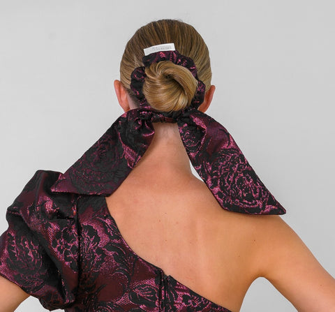 Feature Bow Tail Scrunchie - Metallic Burgundy Brocade