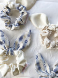 Feature Bow Scrunchie - Golden Blue with Ivory Bow