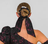 Feature Bow Tail Scrunchie - Black/Burgundy Brocade