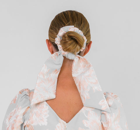Feature Bow Tail Scrunchie - Peachy Peony