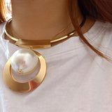 Gold Big Beads Choker Bohemia Pearl