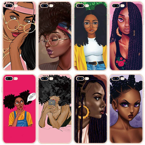 Afro Black Girl Art Case For iPhone