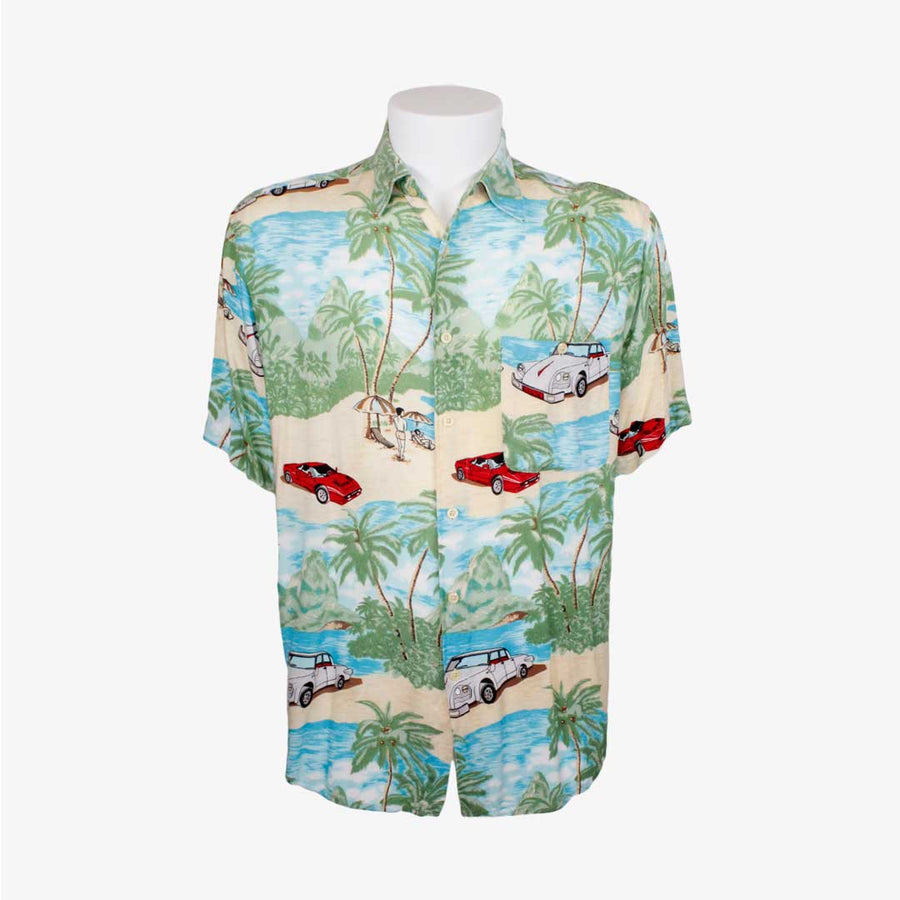 Camisa hawaiana playas y coches