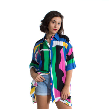 Camisa Fluida larga multicolor - Vintalogy
