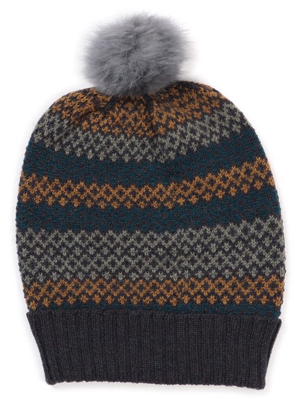 Isla 6 Colour Fairisle Pattern Beanie- Merino Wool
