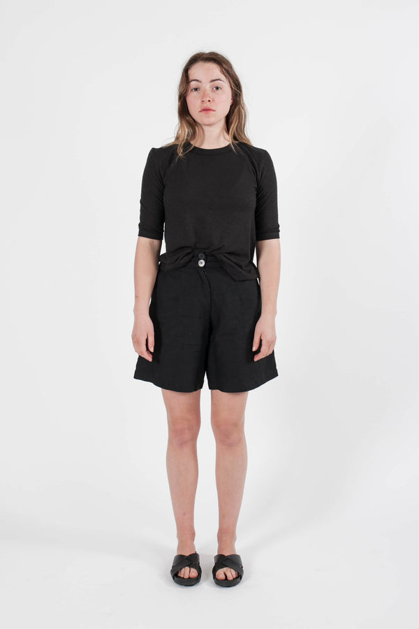 High Waisted Bell Shorts- Natural/Black