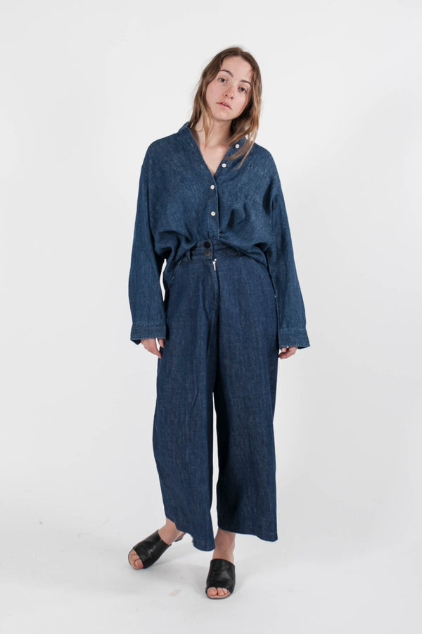 Wide Leg Pants- Denim/Linen Stripe