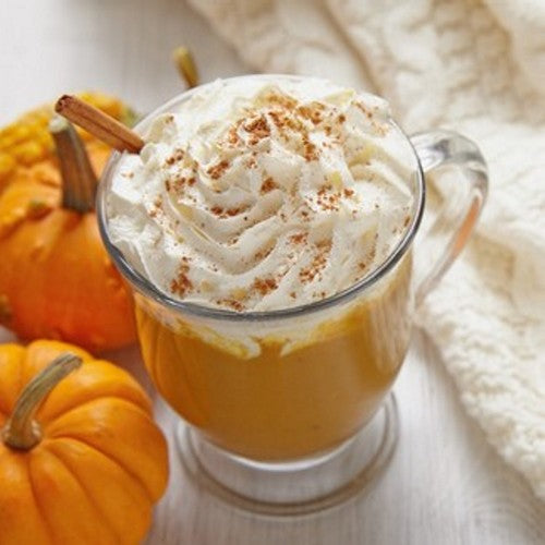 Sweet pumpkin pie blended with espresso and topped with the perfect touch of cinnamon and brown sugar topped with whipped cream