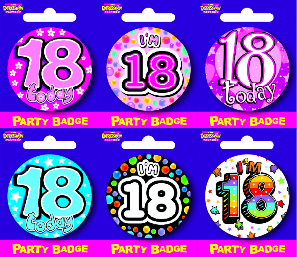 Age 18 Small Badges x6