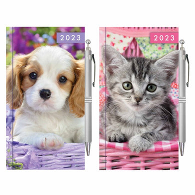 Slim Diary & Pen: Kitten & Puppy
