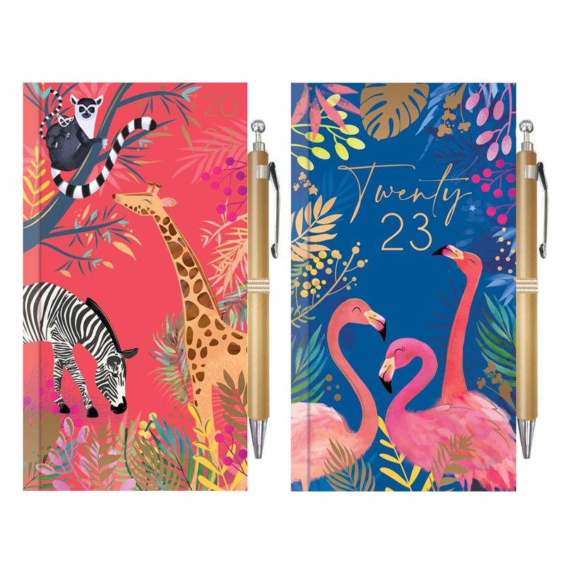 Slim Diary & Pen: Flamingo's