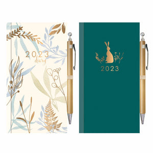 Slim Diary & Pen: Foil Dots & Hearts