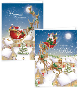 12 Portrait Flying Santa Boxed Cards