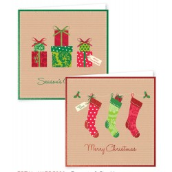 12 Square Christmas Stocking/Gift Boxed Cards