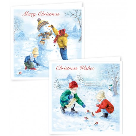 12 Square Family Snow Scene Boxed Cards