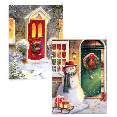 12 Portrait Christmas Cards Front Door Scene