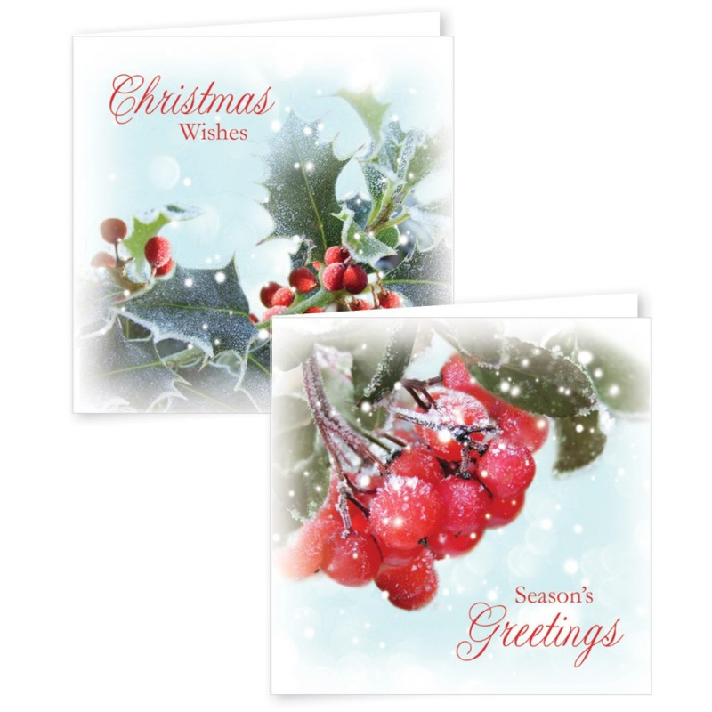 12 Square Christmas Cards Photographic Foliage