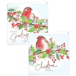 12 Square Christmas Cards Traditional Robins