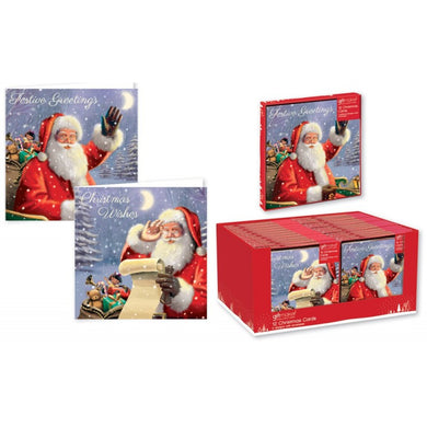 12 Square Christmas Cards Traditional Santa