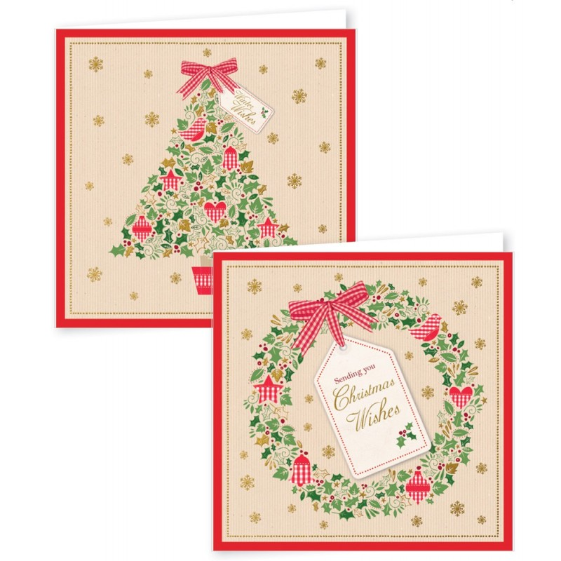 12 Square Christmas Cards Tree & Wreath/ Bauble