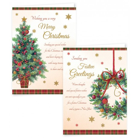 12 Portrait Christmas Cards Tree & Wreath