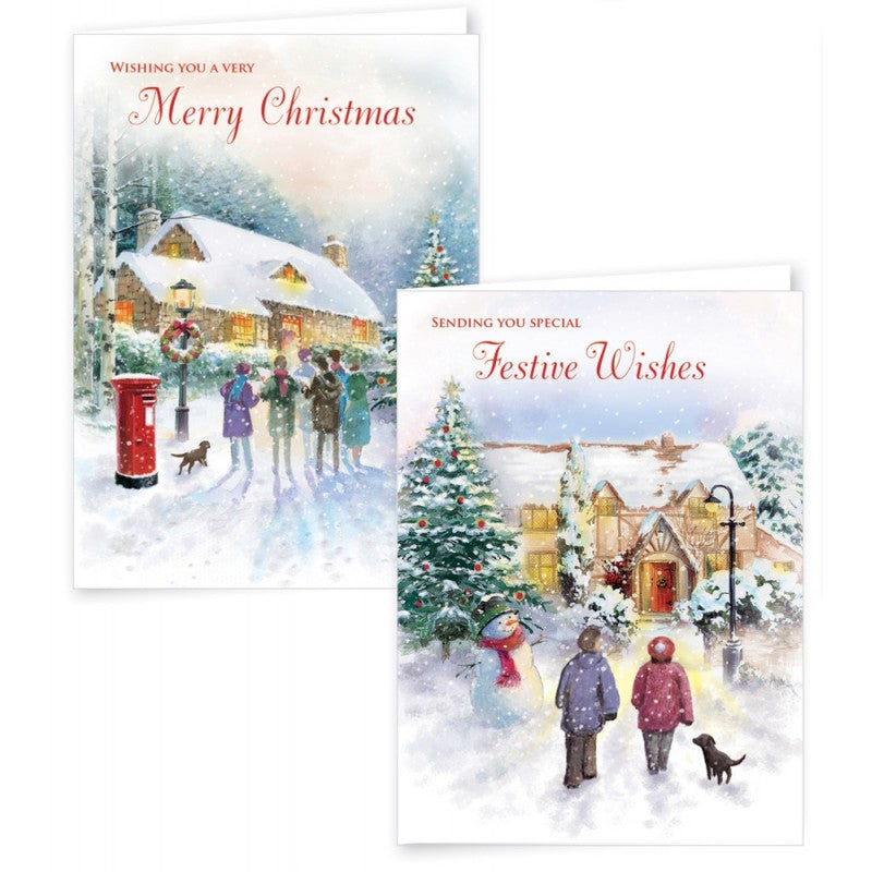 12 Square Christmas Cards Flying Santa
