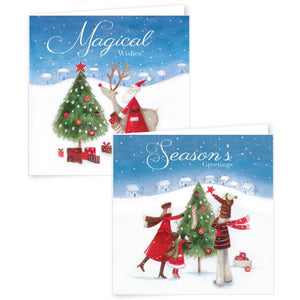 12 Square Christmas Cards Whimsical Santa & Friends