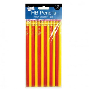 12 HB Pencils with Eraser Tips