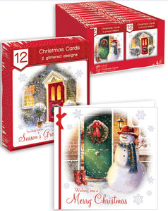 12 Square Front Door Scene Boxed Cards