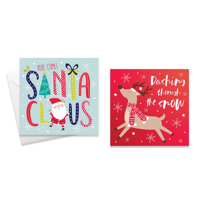 10 Square Boxed Cards: Fun Santa