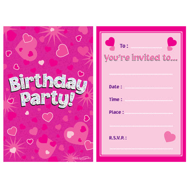8 Party Invites Pink