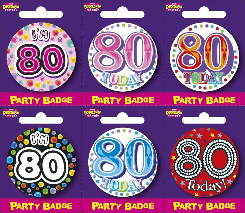 Age 80 Small Badges x6