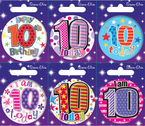 Age 10 Small Badges x6