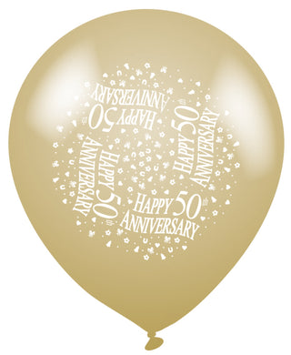Golden Anniversary Latex Balloons