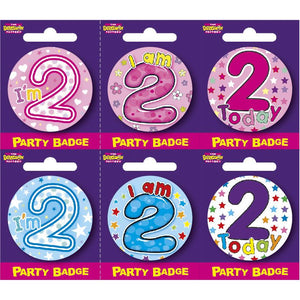 Age 2 Small Badges x6