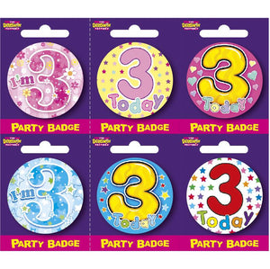 Age 3 Small Badges x6