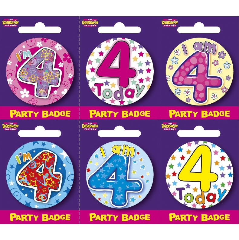 Age 4 Small Badges x6