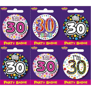 Age 30 Small Badges x6