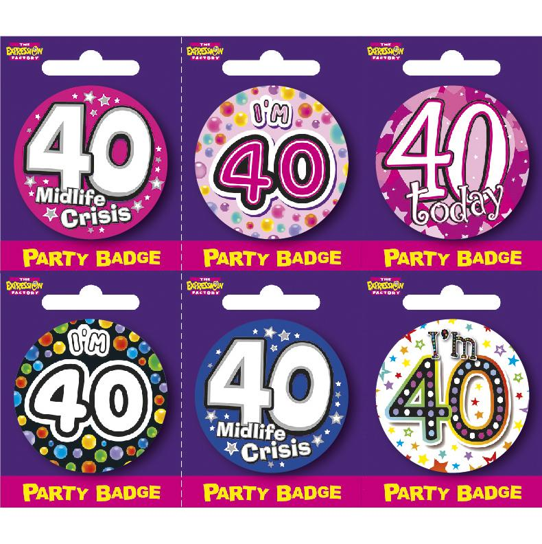 Age 40 Small Badges x6