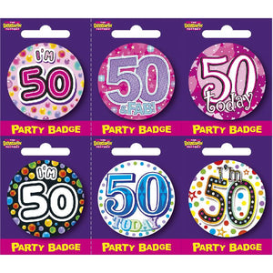 Age 50 Small Badges x6