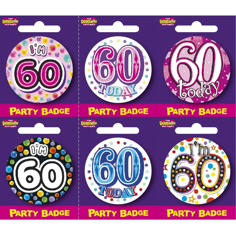 Age 60 Small Badges x6