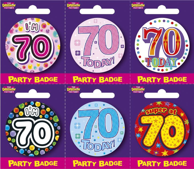 Age 70 Small Badges x6