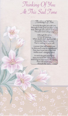 Thinking of you at this Sad Time Keepsake Card