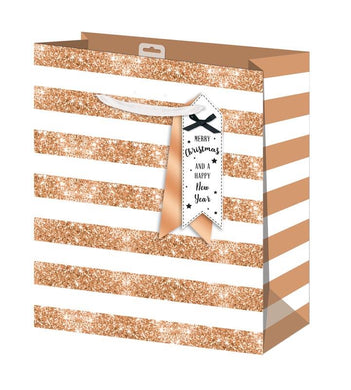 Gold Stripe Large Gift Bag