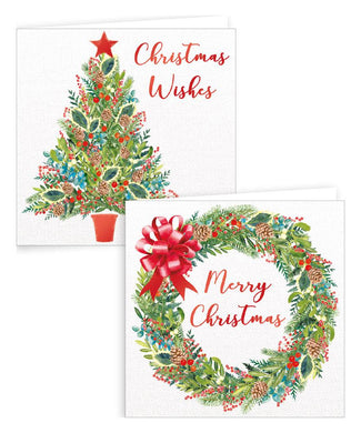 10 Square Tree & Wreath Boxed Cards