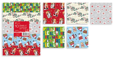 10 Sheets Of Christmas Gift Wrap