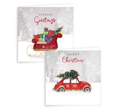 10 Square Car & Sleigh Cards